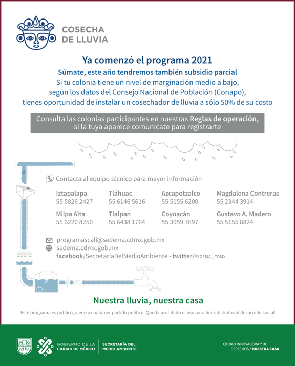 Programa Cosecha de Lluvia 2021 en CDMX