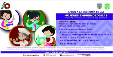 Apoyo Mujeres emprendedoras Álvaro Obregón 2021
